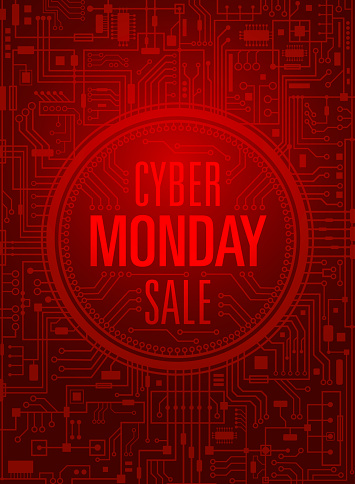 Cyber monday sale vertical red banner. Vector illustration