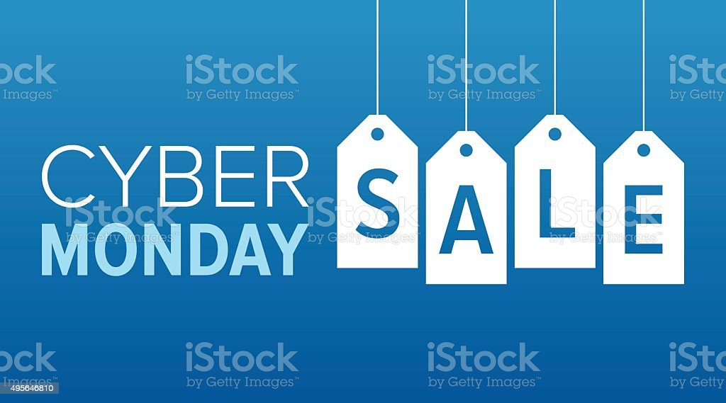 Cyber Monday sale website display with hang tags vector promotion vector art illustration