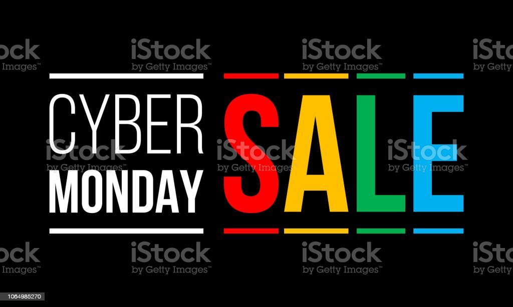 cyber monday sale, white and colorful vector text on black background cyber monday sale, white and colorful vector text on black background Advertisement stock vector