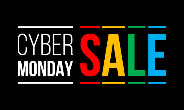cyber monday sale, white and colorful vector text on black background - cyber monday stock illustrations