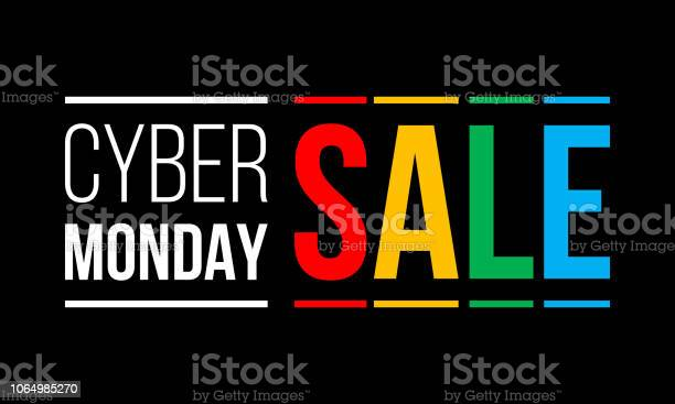 Cyber Monday Sale White And Colorful Vector Text On Black Background Stock Illustration - Download Image Now