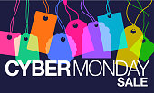 Colourful overlapping silhouettes of labels for Cyber Monday Sales