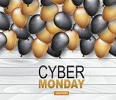 Cyber Monday Shopping event. Discount promotion advertisement design concept. Shiny balloons over wooden board wall. Vector illustration.