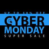 Cyber monday super sale poster. Clearance mega discount flyer template. Big special offer season. Vector digital shop banner illustration.