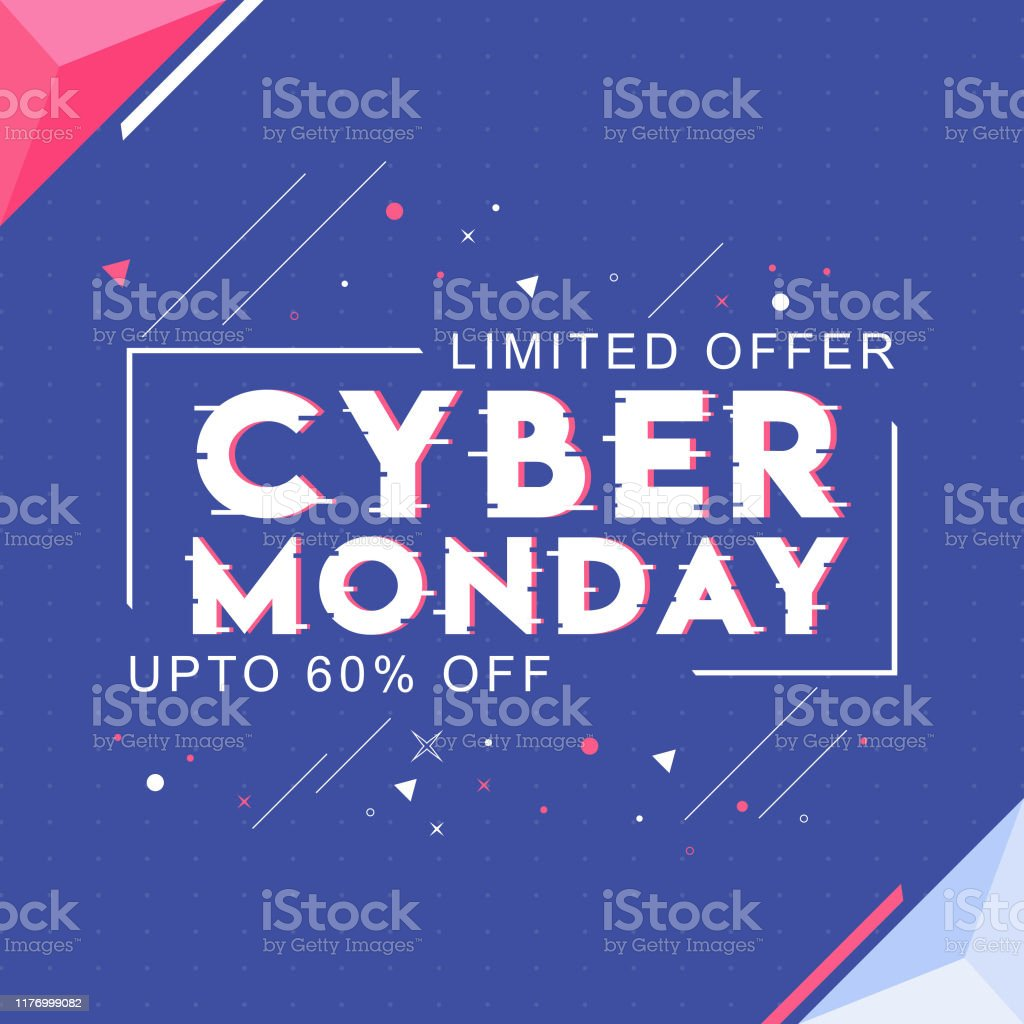 Cyber Monday text with 60% discount offer and abstract elements on blue background for Sale. Can be used as poster design. - Векторная графика Абстрактный роялти-фри