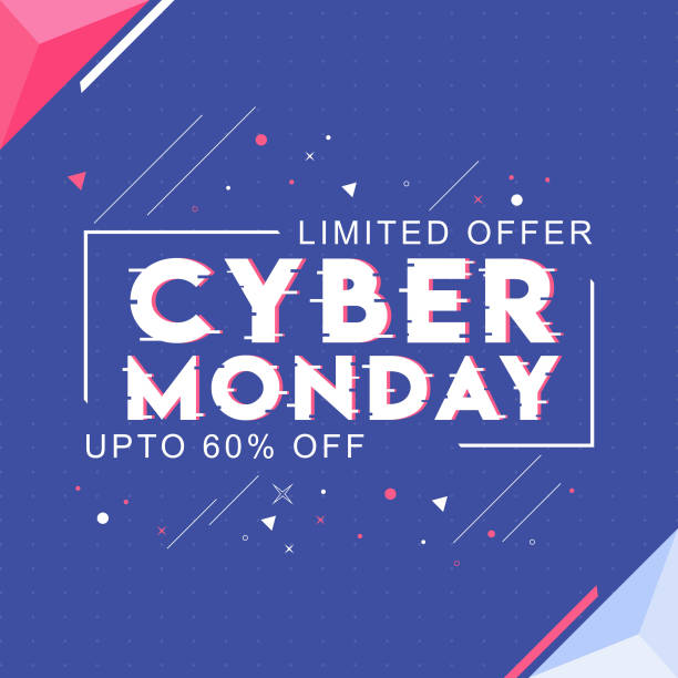 cyber monday text with 60% discount offer and abstract elements on blue background for sale. can be used as poster design. - cyber monday stock illustrations