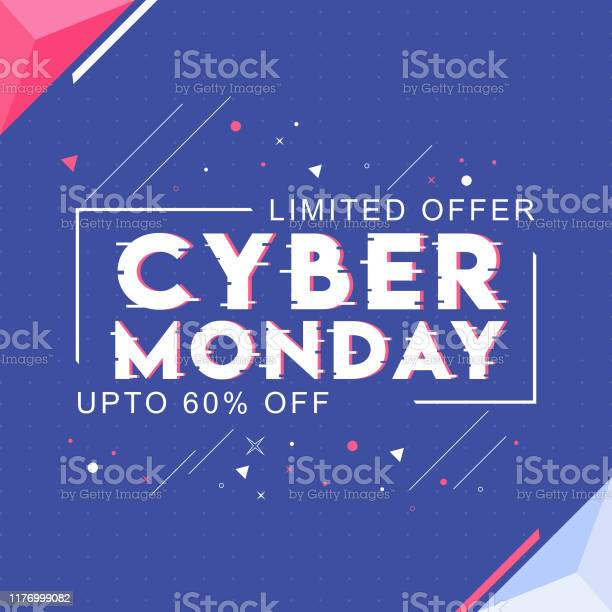 Cyber Monday Text With 60 Discount Offer And Abstract Elements On Blue Background For Sale Can Be Used As Poster Design — стоковая векторная графика и другие изображения на тему Абстрактный