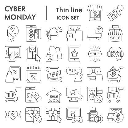 Cyber monday thin line icon set, sales and discount symbols collection, vector sketches, logo illustrations, online shopping signs linear pictograms package isolated on white background, eps 10.