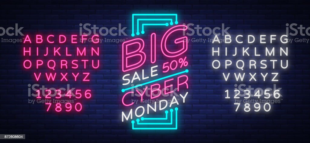 Cyber Monday vector banner in fashionable neon style, luminous signboard, nightly advertising advertisement of sales rebates of cyber Monday. Editing text neon sign. Neon alphabet - Векторная графика Алфавит роялти-фри