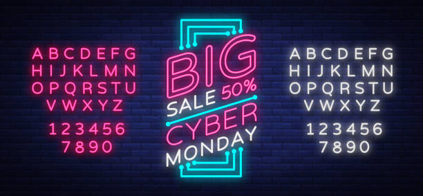 cyber monday vector banner in fashionable neon style, luminous signboard, nightly advertising advertisement of sales rebates of cyber monday. editing text neon sign. neon alphabet - cyber monday stock illustrations