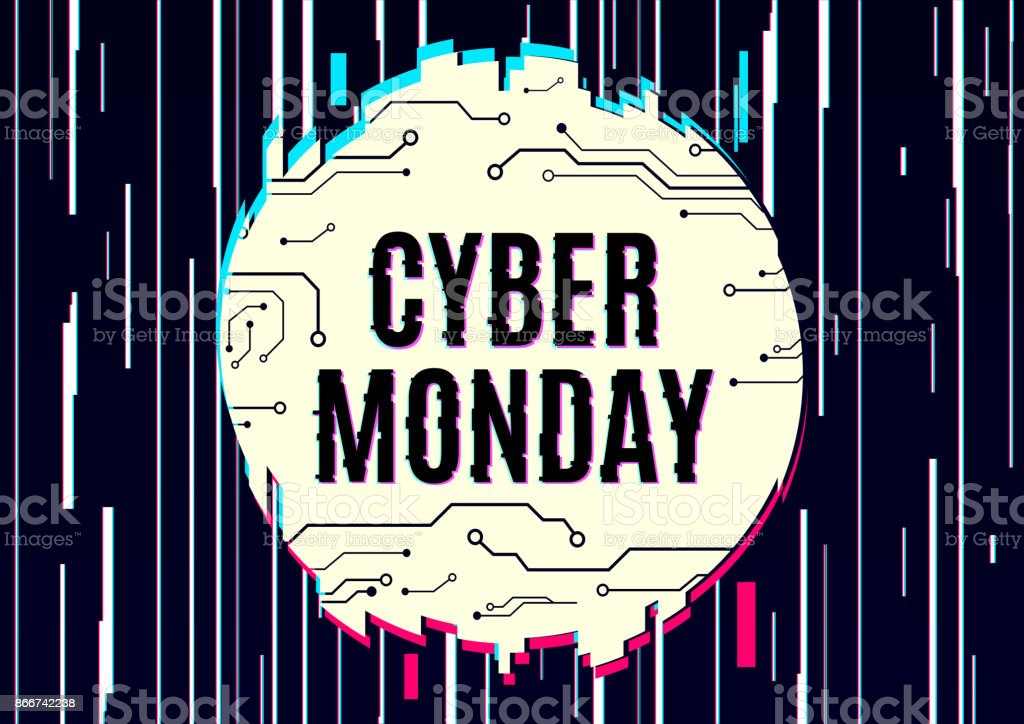 Cyber monday vector banner template. vector art illustration