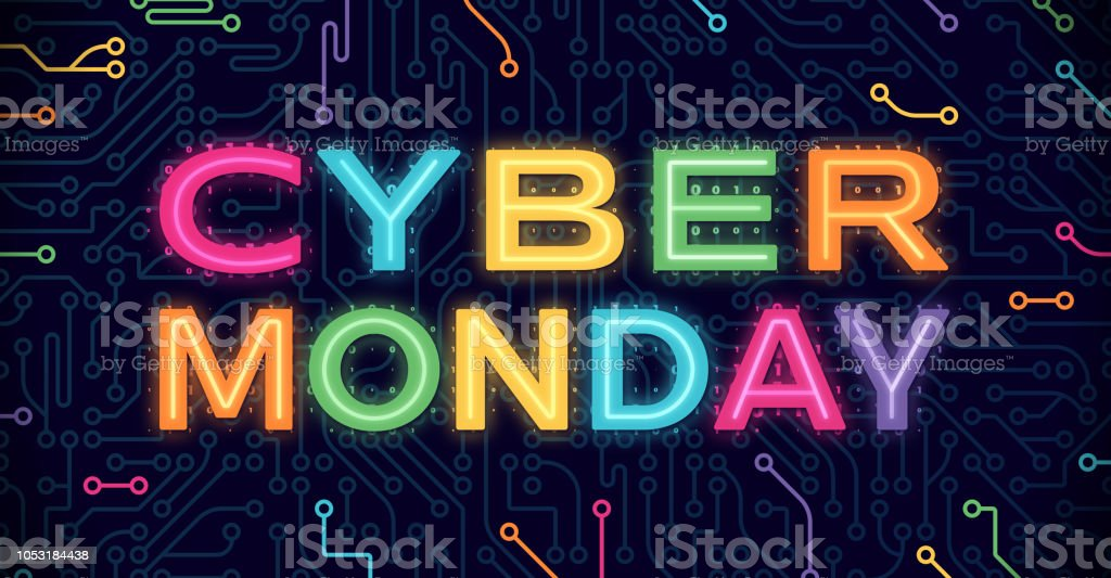 Cyber Monday Cyber Monday circuits circuit board blue background. Abstract stock vector