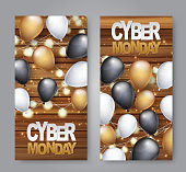 Cyber Monday vertical banner design template. Big sale advertising promo concept with balloons, glowing garland, on wooden board plank background and typography text. Vector illustration.