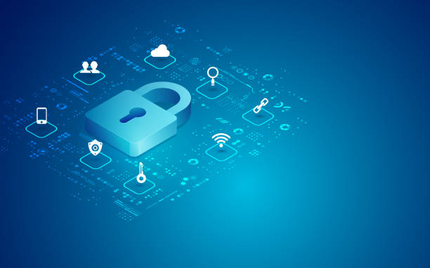 cyber padlock concept of cyber security, digital padlock with technology icons privacy stock illustrations