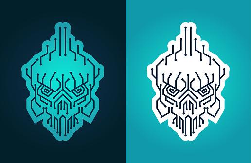 Cyber punk skull - stylized symbol of cyber piracy, hacker, cracker, virus attack