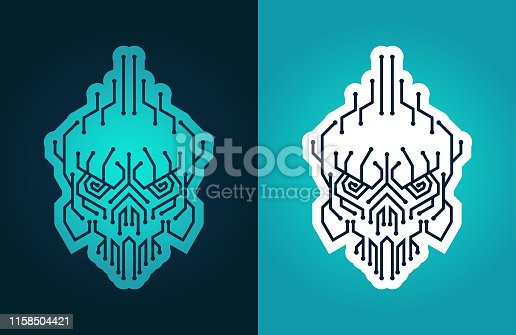 Cyber skull - vector stylized symbol of cyber piracy, hacker, cracker, virus attack