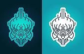 Cyber skull - vector stylized symbol of cyber piracy, hacker, cracker, virus attack