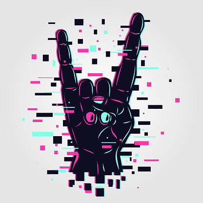 Cyber rock hand. Glitch style vector illustration. Rock and roll arm. Online show concept.