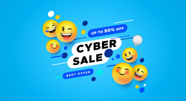 stockillustraties, clipart, cartoons en iconen met cyber verkoop sjabloon 3d gele smiley gezicht banner - smile