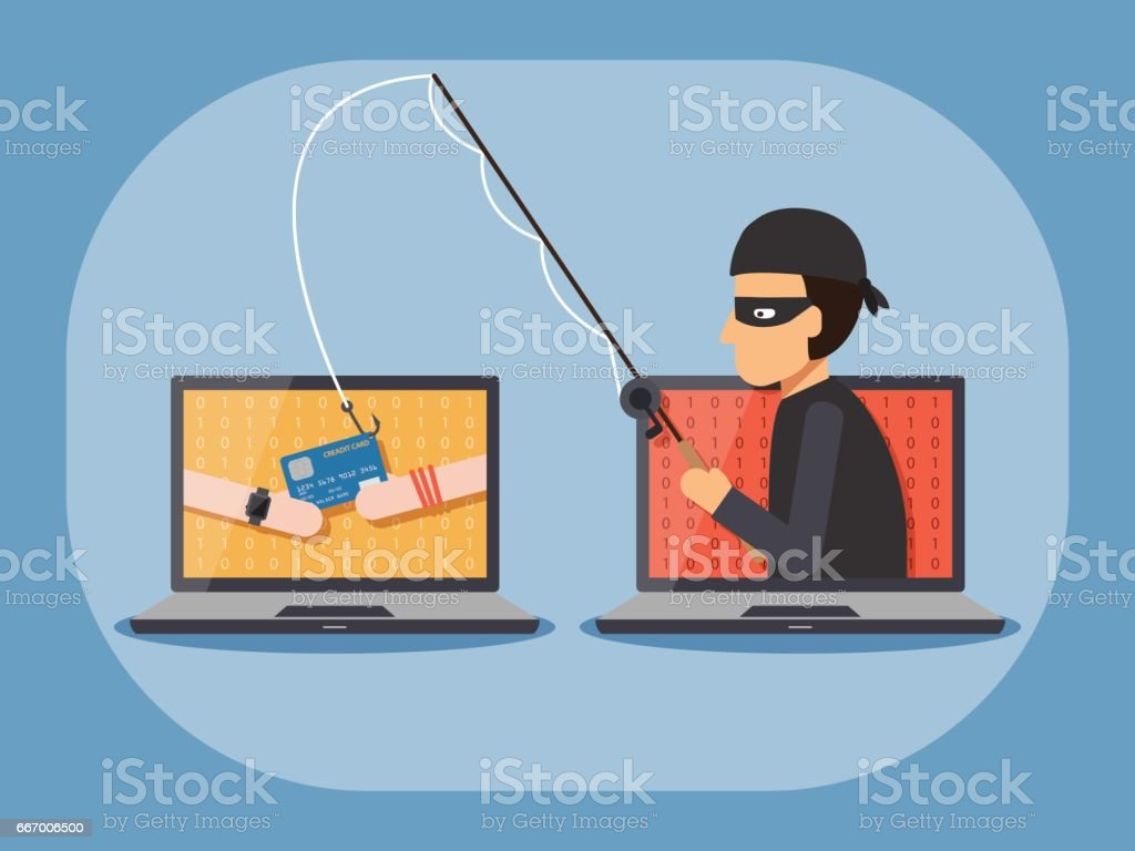 Cyber security and crime concept vector art illustration
