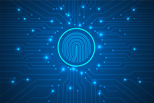 cyber security and  digital lines with fingerprint abstract.