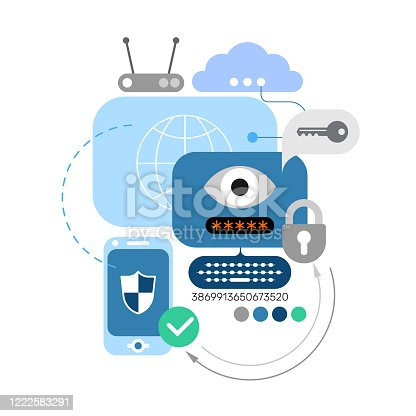 Blue and grey images isolated on a white background Cyber Security and Electronic Devices vector banner design. IT security vector flat graphic elements for websites, web banners, etc.