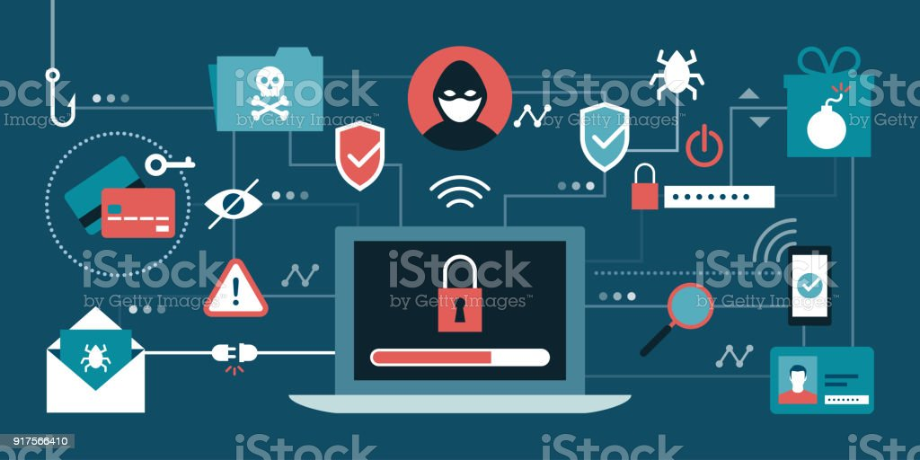 Cyber security and hackers vector art illustration
