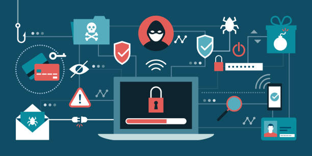 Cyber security and hackers Cyber security, antivirus, hackers and malware concepts with secure laptop at center hacker stock illustrations