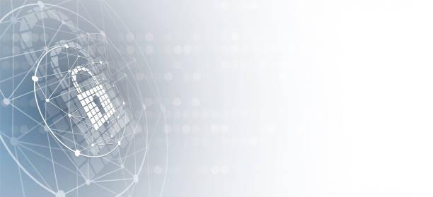 ilustraciones, imágenes clip art, dibujos animados e iconos de stock de seguridad cibernética e información o protección de la red. servicios web de tecnología de futuro para proyectos empresariales e internet - seguridad