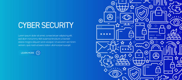Cyber Security Banner Template with Line Icons. Modern vector illustration for Advertisement, Header, Website. Cyber Security Banner Template with Line Icons. Modern vector illustration for Advertisement, Header, Website. cybersecurity stock illustrations