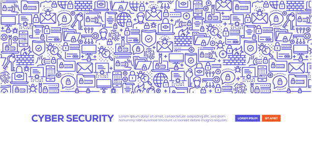 stockillustraties, clipart, cartoons en iconen met cyber security banner - beveiligingssysteem