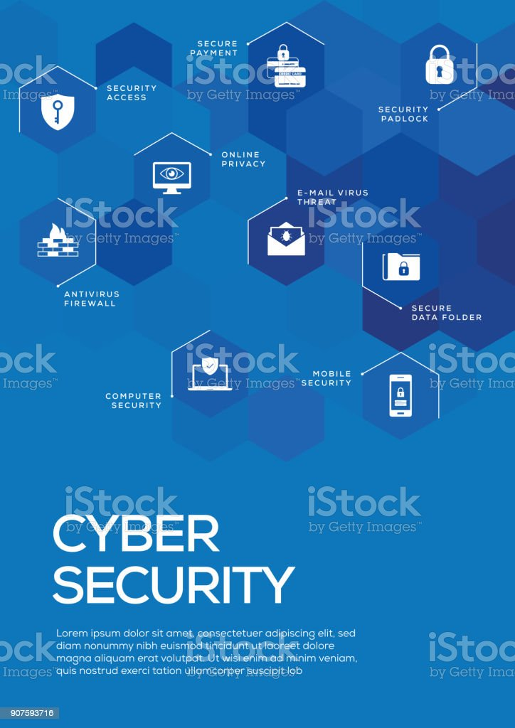 cyber security brochure template layout cover design stock vector