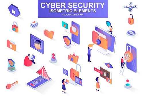 Cyber security bundle of isometric elements. Fingerprint scanner, padlock, password, firewall, data folder, electronic security key isolated icons. Isometric vector illustration kit