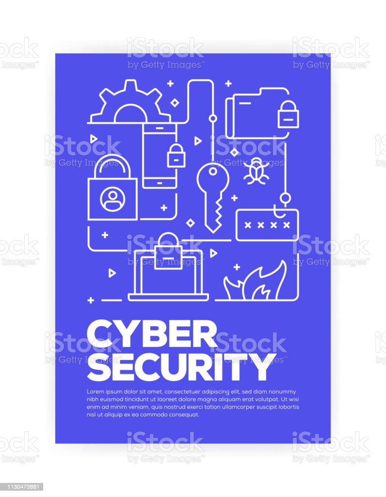 Cyber Security Concept Line Style Cover Design For Annual Report