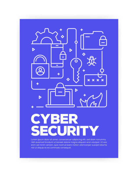 Cyber Security Concept Line Style Cover Design for Annual Report, Flyer, Brochure. Cyber Security Concept Line Style Cover Design for Annual Report, Flyer, Brochure. cybersecurity stock illustrations