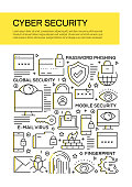 Cyber Security Concept Line Style Cover Design for Annual Report, Flyer, Brochure.