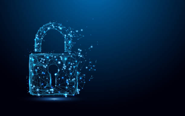 Cyber security concept. Lock symbol from lines and triangles, point connecting network on blue background. Illustration vector Cyber security concept. Lock symbol from lines and triangles, point connecting network on blue background. Illustration vector padlock stock illustrations