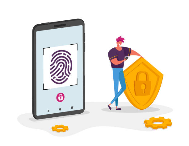 Cyber Security Concept. Man Character Stand at Huge Mobile Phone Holding Shield with Lock Symbol in Hands, Touch Screen for Finger Scan. Biometric ID Fingerprint Scanning. Cartoon Vector Illustration Cyber Security Concept. Man Character Stand at Huge Mobile Phone Holding Shield with Lock Symbol in Hands, Touch Screen for Finger Scan. Biometric ID Fingerprint Scanning. Cartoon Vector Illustration human finger stock illustrations
