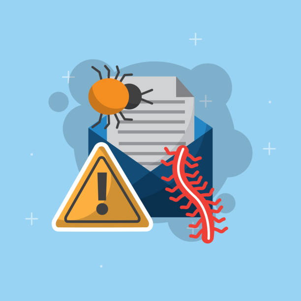 cyber security concept email message bug worm warning cyber security vector illustration computer virus stock illustrations