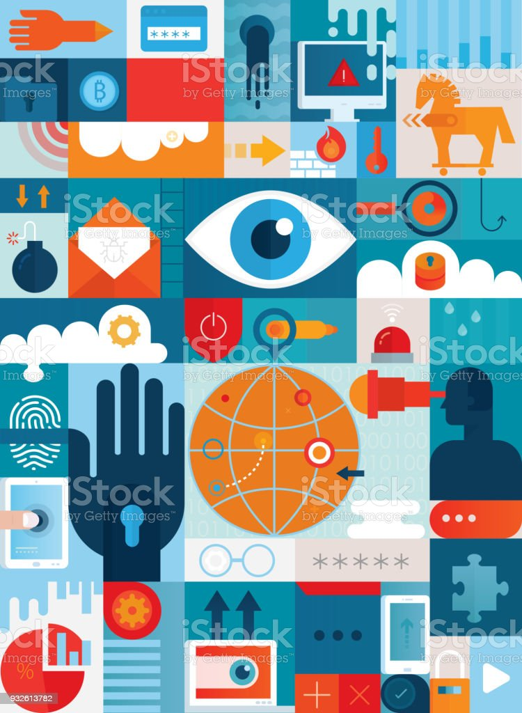 Cyber Security Konzept vertikal – Vektorgrafik