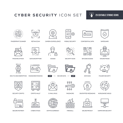 Cyber Security Editable Stroke Line Icons