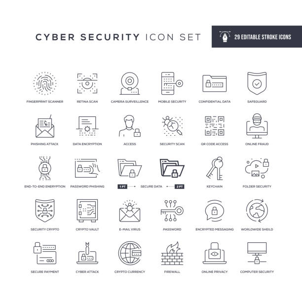 Cyber Security Editable Stroke Line Icons 29 Cyber Security Icons - Editable Stroke - Easy to edit and customize - You can easily customize the stroke with security stock illustrations