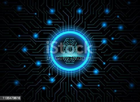 Cyber security fingerprint dark blue abstract digital conceptual technology background. Computer technology website internet infographics. Finger-print scanning. Hand print