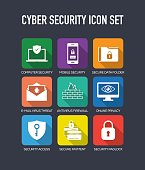 Cyber Security Flat Icons Set