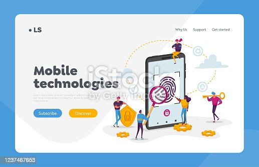 Cyber Security, Futuristic Technologies Landing Page Template. Fingerprint Scanning Smartphone Access Lock. Tiny Characters at Huge Mobile Phone with Finger Scan. Cartoon People Vector Illustration