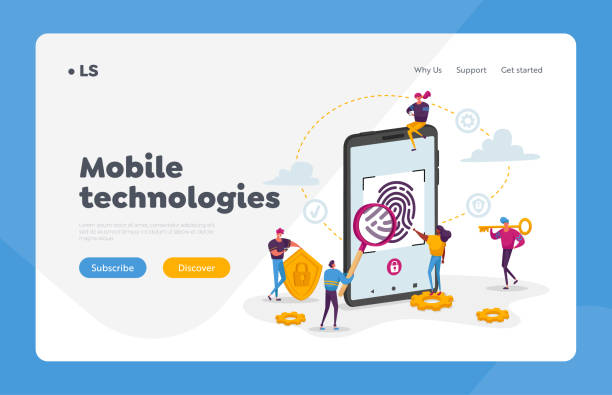 Cyber Security, Futuristic Technologies Landing Page Template. Fingerprint Scanning Smartphone Access Lock. Tiny Characters at Huge Mobile Phone with Finger Scan. Cartoon People Vector Illustration Cyber Security, Futuristic Technologies Landing Page Template. Fingerprint Scanning Smartphone Access Lock. Tiny Characters at Huge Mobile Phone with Finger Scan. Cartoon People Vector Illustration human finger stock illustrations