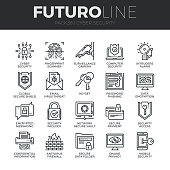 Modern thin line icons set of cyber security, computer network protection. Premium quality outline symbol collection. Simple mono linear pictogram pack. Stroke vector symbol concept for web graphics.