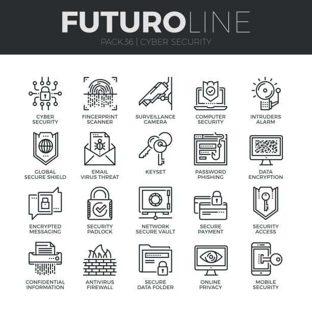 stockillustraties, clipart, cartoons en iconen met cyber security futuro lijn icons set - beveiligingssysteem