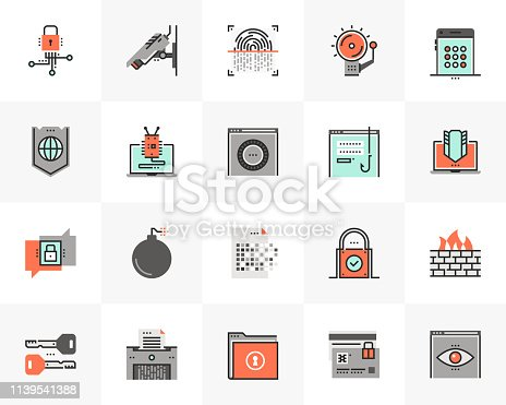 Flat line icons set of network data protection, cybersecurity. Unique color flat design pictogram with outline elements. Premium quality vector graphics concept for web, logo, branding, infographics.