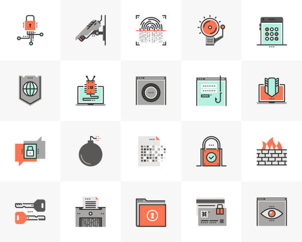 stockillustraties, clipart, cartoons en iconen met cyber security futuro volgende iconen pack - beveiligingssysteem